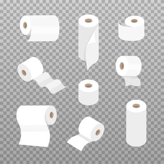 Juego de rollos de papel higiénico uso para la cocina del baño iconos modernos en un estilo plano de moda