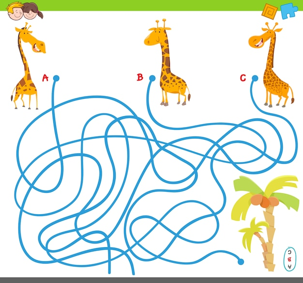 Juego de rompecabezas de laberinto con jirafas y palmeras