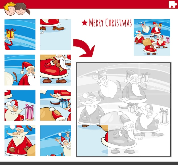 Juego de rompecabezas con personajes navideños cómicos