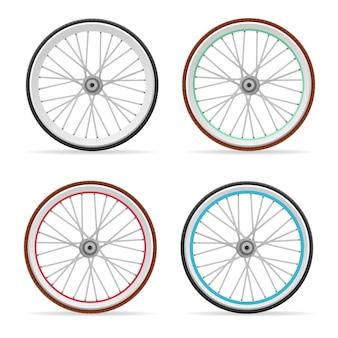 Juego de ruedas y neumáticos de colores de bicicleta.