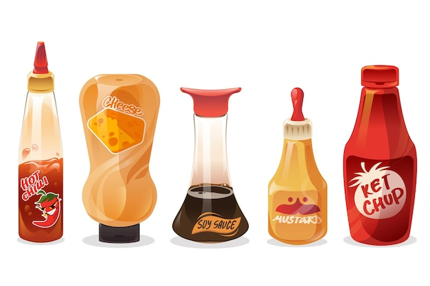 Juego de salsas y aderezos en botellas de vidrio y plástico