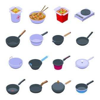 Juego de sartén wok. conjunto isométrico de sartén wok para diseño web aislado sobre fondo blanco.