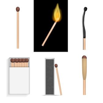 Juego de seguridad para encender quemar conjunto de maquetas. ilustración realista de 6 mockups de quemaduras de encendido para fósforos de seguridad para web