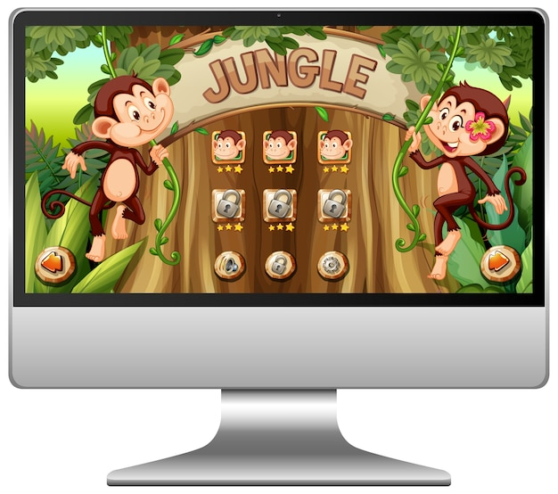 Juego de la selva en la pantalla de la computadora