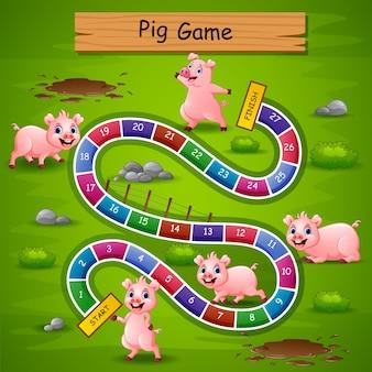 Juego de serpientes y escaleras de cerdos tema.