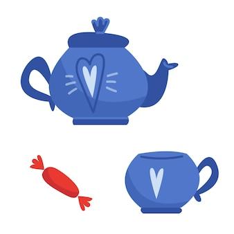 Juego de servicio azul de una taza y una tetera con dulces en un estilo plano infantil de dibujos animados