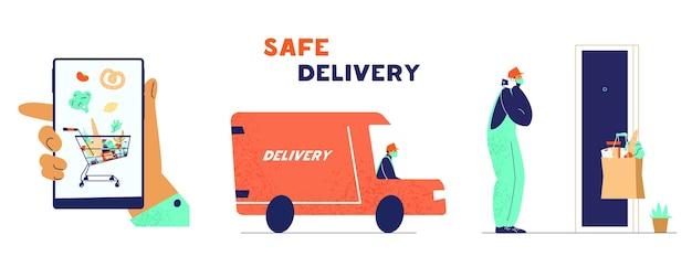 Juego de servicio de entrega segura sin contacto en cuarentena covid-19.