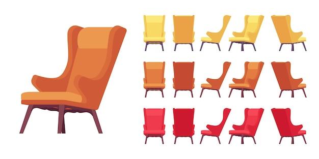 Juego de sillón suave retro