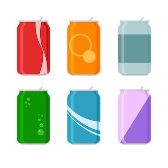 Juego de soda de dibujos animados en latas de aluminio. agua carbonatada sin alcohol con diferentes sabores. bebidas en envases de colores. plantillas aisladas sobre fondo blanco.
