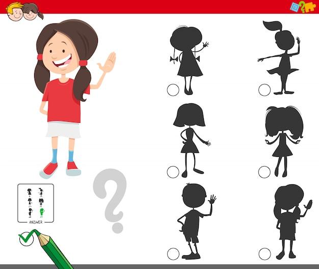 Juego de sombras con personaje de niña de dibujos animados lindo