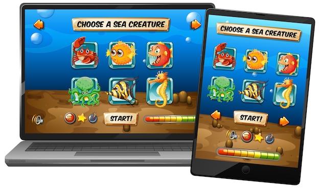 Juego submarino con animales marinos en diferentes pantallas de dispositivos electrónicos