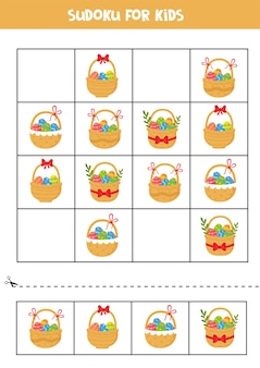 Juego de sudoku con cestas de pascua de dibujos animados con huevos y flores.