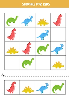 Juego de sudoku con un conjunto de lindos dinosaurios de dibujos animados. rompecabezas educativo para niños.