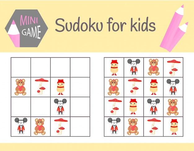 Juego de sudoku para niños con imágenes y animales. sábanas infantiles. aprendiendo lógica, juego educativo