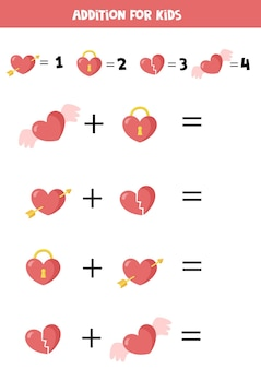Juego de suma con diferentes corazones de san valentín hoja de trabajo de matemáticas para niños