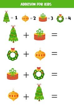 Juego de suma con elementos navideños de dibujos animados. árbol de navidad, presente, bola, corona.