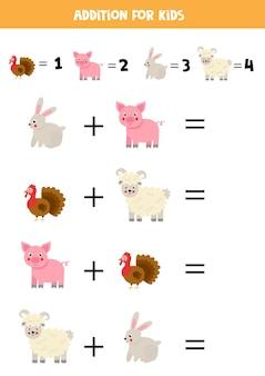 Juego de suma con lindos animales de granja de dibujos animados. juego de matemáticas para niños.