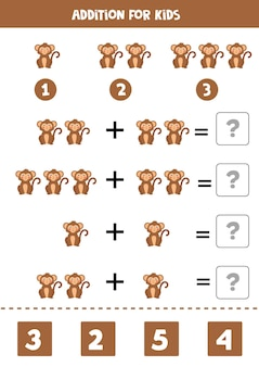 Juego de suma con mono de dibujos animados lindo. juego de matemáticas para niños.