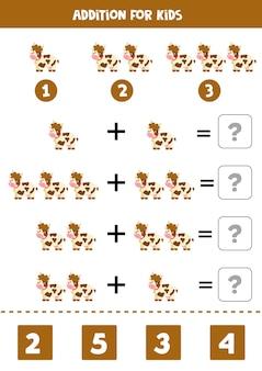 Juego de suma con vaca de granja de dibujos animados lindo. juego de matemáticas para niños.