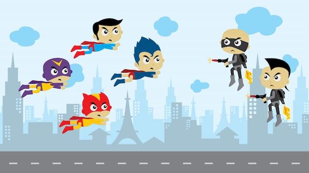Juego de superhéroe de dibujos animados activo