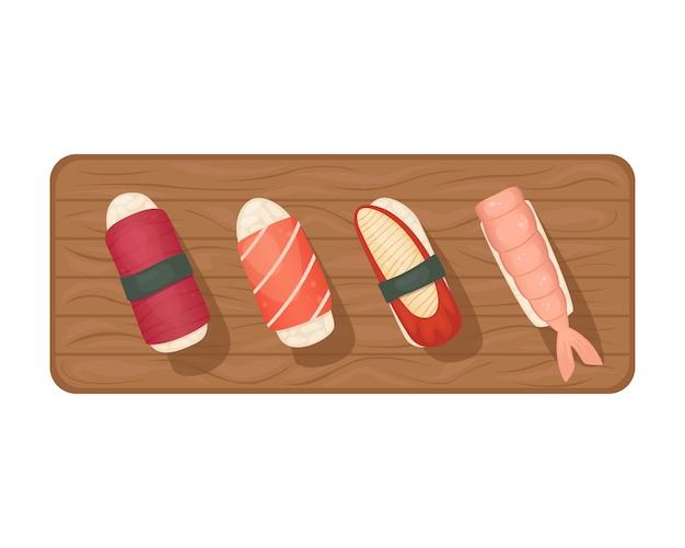 Juego de sushi con atún, anguila y salmón sobre una tabla de madera.