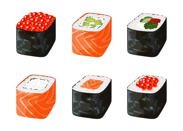 Juego de sushi. colección de varios deliciosos rollos y electrodomésticos para comer palillos.