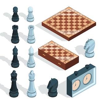 Juego de tablero de ajedrez. estratégico táctico entretenimiento jaque mate piezas de torre alcazar caballero figuras isométricas
