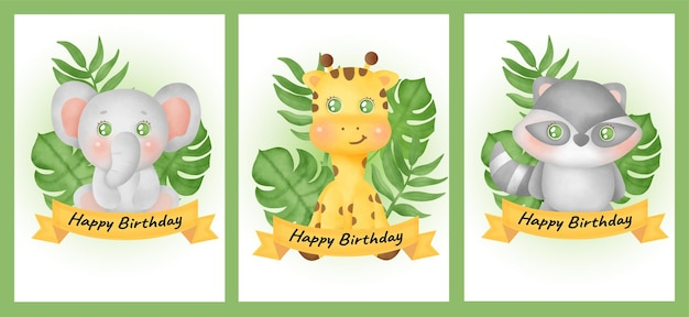 Juego de tarjetas de cumpleaños con elefante, jirafa y mapache en estilo color agua.