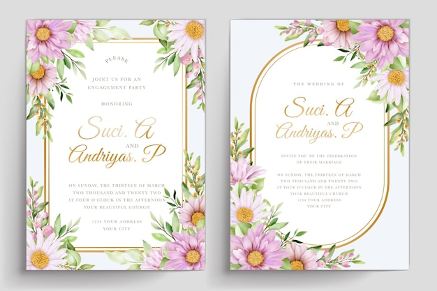 Juego de tarjetas de invitación de boda acuarela crisantemo
