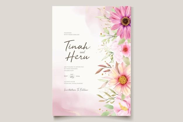 Juego de tarjetas de invitación boda crisantemo