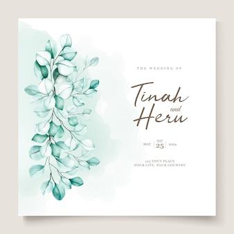 Juego de tarjetas de invitación de boda eucalipto