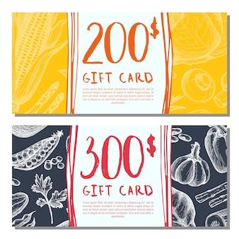 Juego de tarjetas de regalo de tienda de alimentos orgánicos