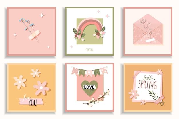 Juego de tarjetas de verano. sobre con flores, arco iris y rama en románticas tarjetas de primavera en estilo plano dibujado a mano
