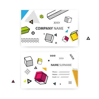 Juego de tarjetas de visita. fondo geométrico del arte pop con elementos gráficos coloridos.