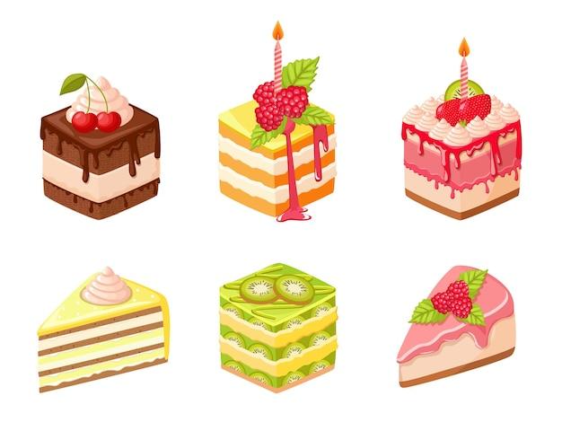 Juego de tartas con velas, frutas, bayas y crema batida