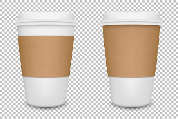 Juego de taza de café de papel en blanco realista. .