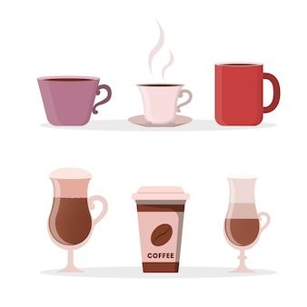 Juego de taza de café. vasos de vidrio y adquisiciones.