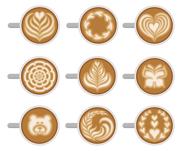 Juego de tazas de café con diferentes latte art, vista superior. capuchino fresco y sabroso. bebida caliente de la mañana