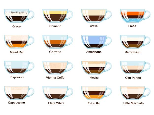 Juego de tazas de café sobre un fondo blanco. recetas de café tradicional. ilustración vectorial