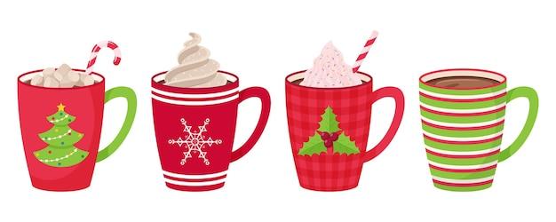 Juego de tazas con café, té, cacao con malvavisco, paja y crema batida y cobertura decorativa. estilo plano.
