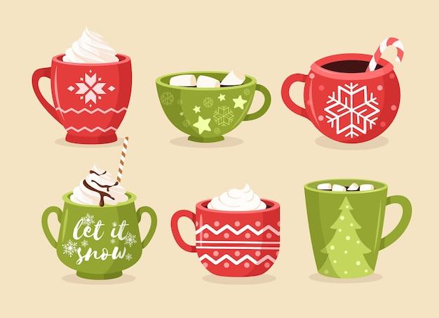 Juego de tazas de navidad planas. tazas festivas con adornos, copos de nieve y letras.