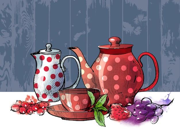 Juego de té dibujado en la parte superior y lateral y atributos de té. ilustración de dibujo y acuarela