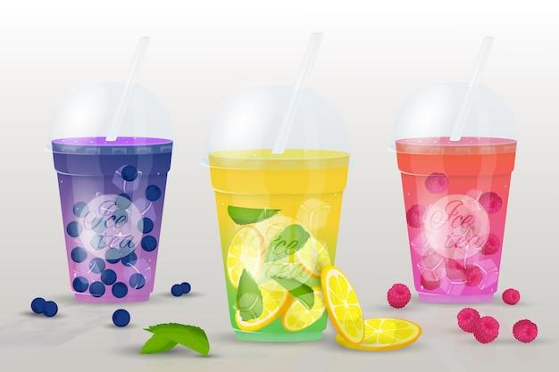 Juego de té helado. vasos de jugos de frutas frescas, batidos