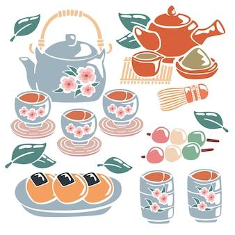 Juego de té japonés pintado a mano