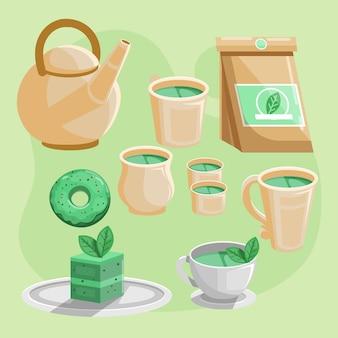 Juego de té japonés plano detallado