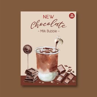 Juego de té de leche de chocolate con burbujas, anuncio de cartel, plantilla de volante, ilustración acuarela