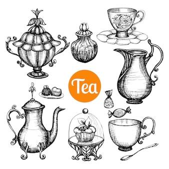 Juego de té retro dibujado a mano