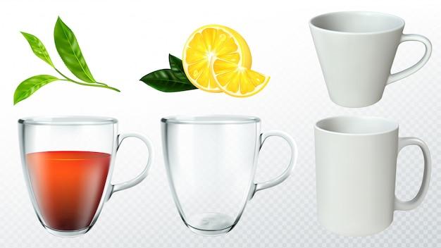 Juego de té con taza, limón y hojas de té.