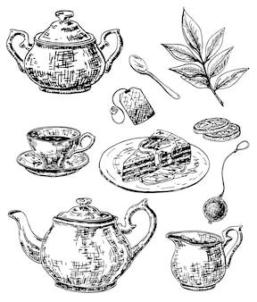 Juego de té de tinta estilo boceto dibujado a mano