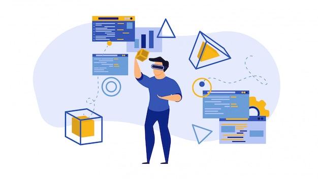 Juego de tecnología vr, ilustración de tecnología de realidad virtual